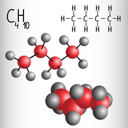 butane: Chemical formula and molecule model of Butane C4H10  . Vector illustration Illustration