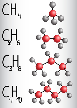 Chemical formula and molecule model methane CH4, ethane C2H4,  propane C3H8,  butane C4H10. Homologous series of alkanes. Vector illustration