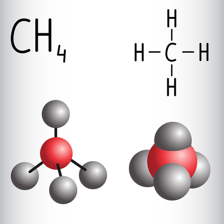 Chemical Formula And Molecule Model Of Propane C3h8 Vector