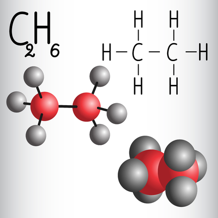 Chemical formula and molecule model of Ethane C2H6  . Vector illustration
