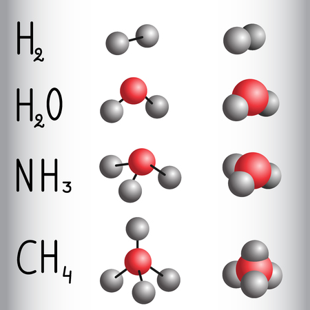 Chemical formula and molecule model of hydrogen , water,  ammonia,  methane. Vector illustration