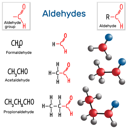 Aldehydes. Chemical formula and molecule model formaldehyde, acetaldehyde and propionaldehyde. Vector illustration
