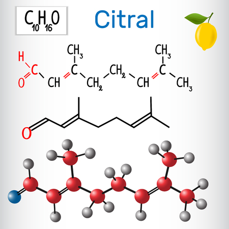 Citral (lemonal). Aldehydes in nature. Vector illustration