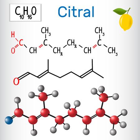 Citral (lemonal). Aldehydes in nature. Vector illustration