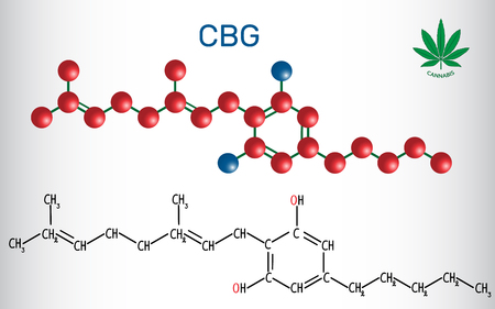 Cannabigerol, structural chemical formula and molecule model. Non-intoxicating cannabinoid in plants of the genus cannabis. Vector illustration
