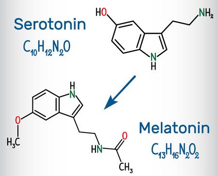 Serotonin Structural chemical formula. Vector illustration Illustration