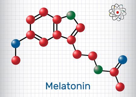 Melatonin Structural chemical formula and molecule model. Vector illustration