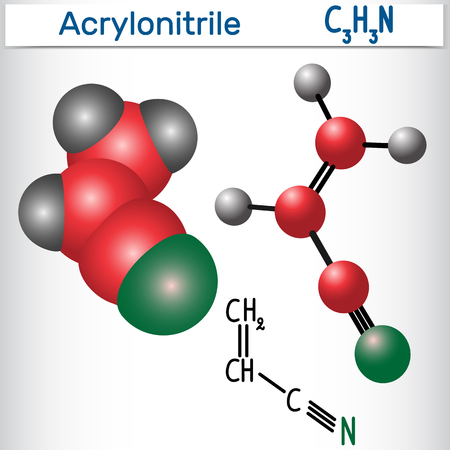 Acrylonitrile molecule - structural chemical formula and model. Used in the production polyacrylonitrile (PAN) and ABS plastic.Vector illustration