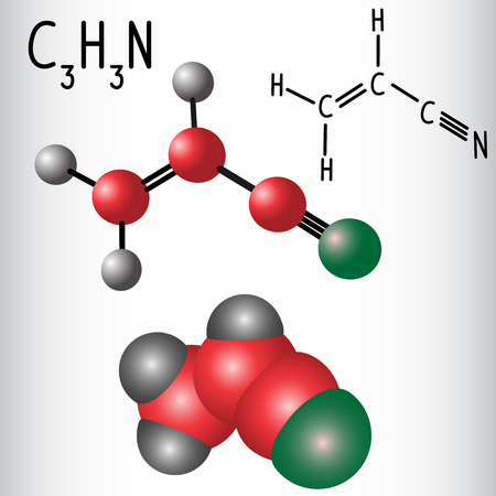Acrylonitrile molecule - structural chemical formula and model. Used in the production polyacrylonitrile (PAN) and ABS plastic. VVector illustration