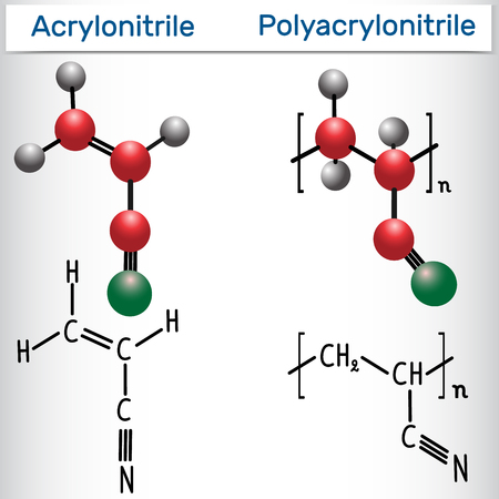 Acrylonitrile and polyacrylonitrile (PAN) polymer molecule - structural chemical formula and model. Vector illustration