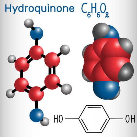 Hydroquinone (quinol) molecule - structural chemical formula and model. Used as photodeveloper. Vector illustration