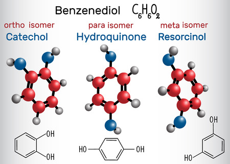 Catechol, resorcinol, hydroquinone molecule - structural chemical formula and model. Meta, ortho, para benzenediol isomers. Vector illustration