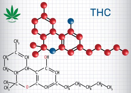 Tetrahydrocannabinol (THC) - structural chemical formula and molecule model.  Vector illustration