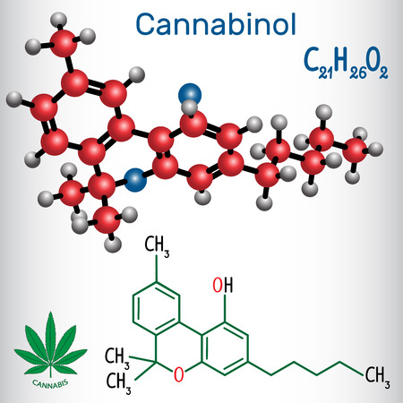 Cannabinol (CBN) structural chemical formula and molecule model.