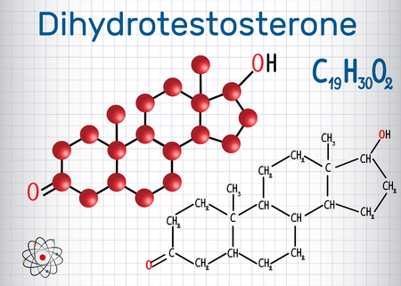Dihydrotestosterone DHT (androstanolone, endogenous androgen sex hormone) - structural chemical formula and molecule model. Sheet of paper in a cage. Vector illustration.