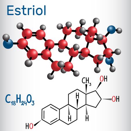 Estriol E3 (estrogen, minor female sex hormone ) - structural chemical formula and molecule model.