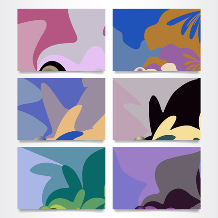 Set of six colorful abstract backgrounds. Landscape orientation. Vector illustration Vettoriali