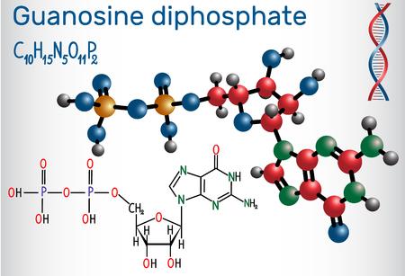 Molécule de diphosphate de guanosine (PIB). Formule chimique structurelle et modèle de molécule. Illustration vectorielle. Vecteurs