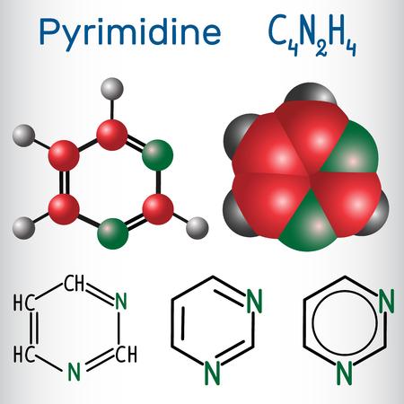 Pyrimidine molecule illustration Illustration