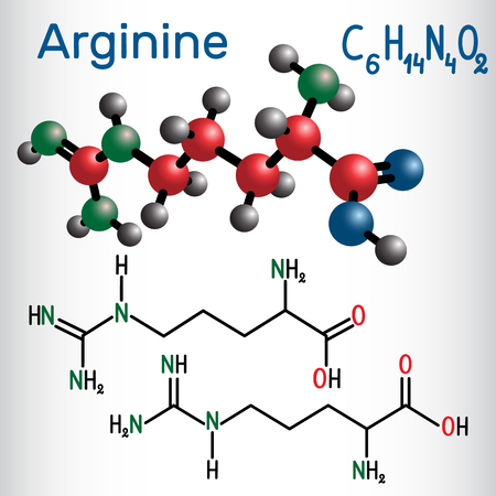 Arginine  chemical formula and molecule model.
