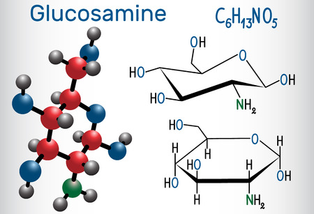 Glucosamine molecule, is one of the most abundant monosaccharides, is dietary supplement. Structural chemical formula and molecule model. Vector illustration Ilustração