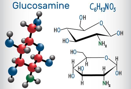 La molécule de glucosamine, est l'un des monosaccharides les plus abondants, est un complément alimentaire. Formule chimique structurelle et modèle de molécule. Illustration vectorielle Vecteurs