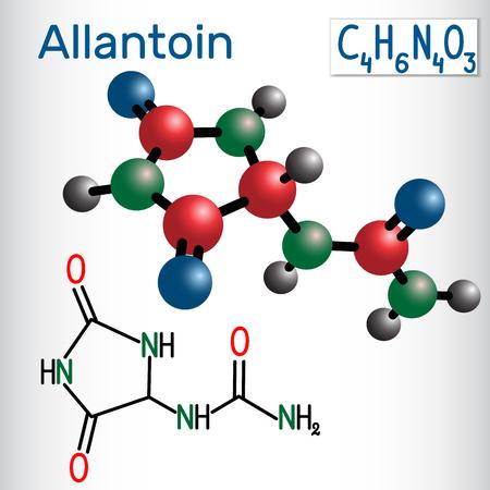 Allantoin (glyoxyldiureide) molecule, it is used in cosmetics. Structural chemical formula and molecule model. Vector illustration