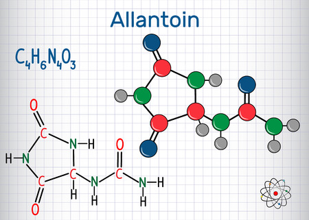 Allantoin (glyoxyldiureide) molecule, it is used in cosmetics. Structural chemical formula and molecule model. Sheet of paper in a cage. Vector illustration