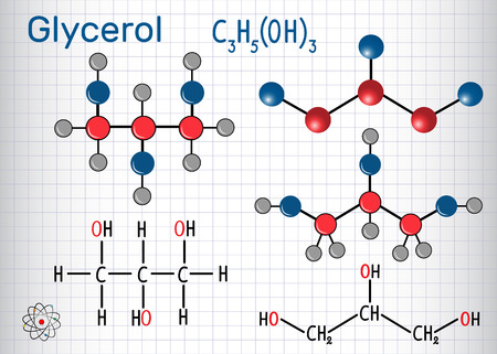 Glycerol (glycerine) molecule. Structural chemical formula and molecule model. Sheet of paper in a cage. Vector illustration