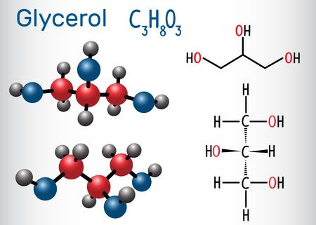 Glycerol (glycerine) molecule. Structural chemical formula and molecule model. Vector illustration Illustration