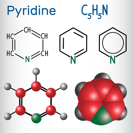 Pyridine molecule, is a basic heterocyclic organic compound. Structural chemical formula and molecule model. Vector illustration