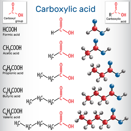 Carboxylic acids (formic, acetic, propionic, butyric, valeric). Homologous series of straight-chain, saturated carboxylic acids. Structural chemical formula and molecule model. Vector illustration Illustration