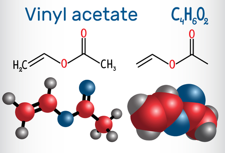 Vinyl acetate molecule. It is the precursor to polyvinyl acetate (PVA) . Structural chemical formula and molecule model. Vector illustration