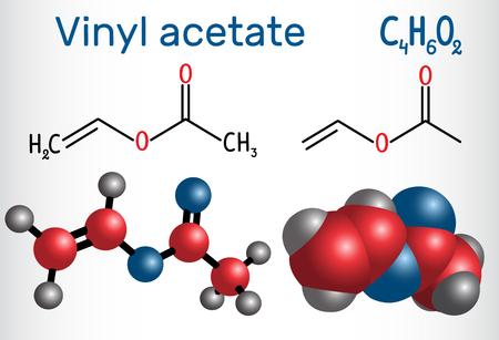 Vinyl acetate molecule. It is the precursor to polyvinyl acetate (PVA) . Structural chemical formula and molecule model. Vector illustration