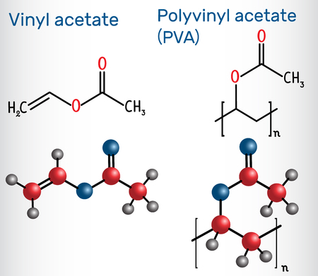 Polyvinyl acetate (PVA) polymer and vinyl acetate monomer molecule . Structural chemical formula and molecule model. Vector illustration