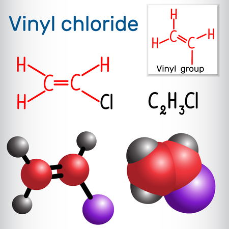 Vinyl chloride molecule. It is also called vinyl chloride monomer (VCM) or chloroethene.  Structural chemical formula and molecule model. Vector illustration