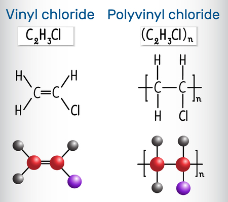 Polyvinyl chloride (PVC) and vinyl chloride monomer molecule. Structural chemical formula and molecule model. Vector illustration Ilustracja