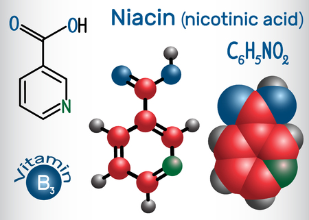 Niacin (nicotinic acid) molecule, is a vitamin B3 found in food, used as a dietary supplement. Structural chemical formula and molecule model. Vector illustration