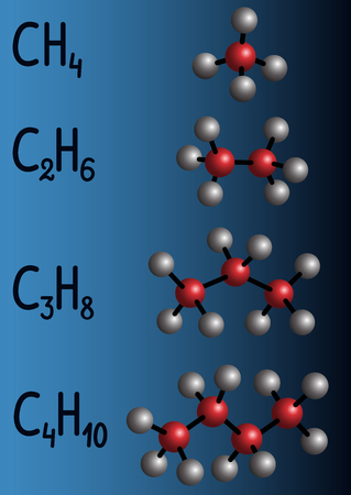 Chemical formula and molecule model on a dark blue background.