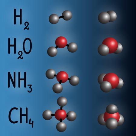 Chemische Formel und Molekülmodell von Wasserstoff, Wasser, Ammoniak, Methan auf dunkelblauem Hintergrund.