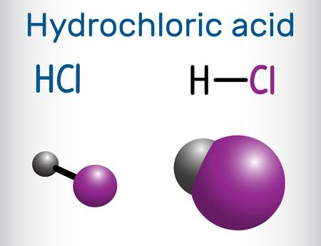 Hydrochloric acid molecule vector illustration