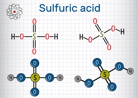 Sulfuric acid molecule vector illustration Illustration