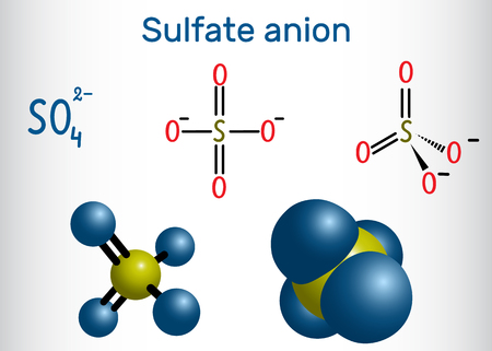 Sulfate anion molecule and structural chemical formula and molecule model.