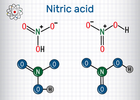 Nitric acid structural chemical formula and molecule model.