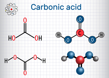 Carbonic acid structural chemical formula and molecule model.
