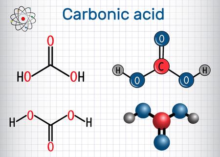 Carbonic acid structural chemical formula and molecule model.