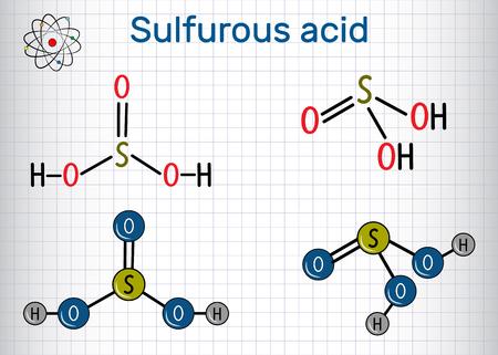 Molécule d'acide sulfureux (acide sulfureux, H2SO3). Formule développée et modèle de molécule. Feuille de papier dans une cage. Illustration vectorielle Vecteurs