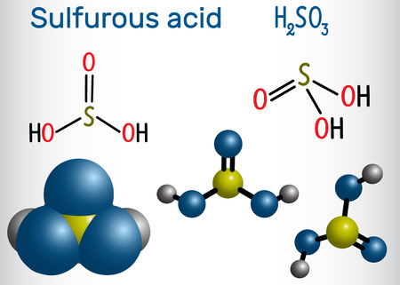 Molécule d'acide sulfureux (acide sulfureux, H2SO3). Formule développée et modèle de molécule. Illustration vectorielle
