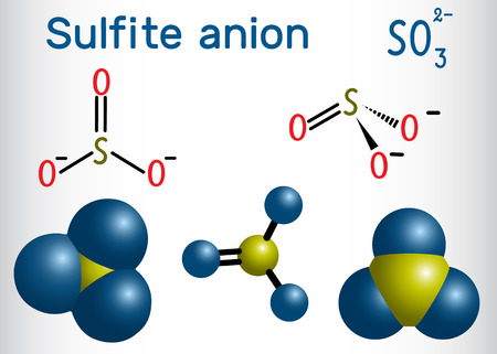 Sulfite anion molecule. Sulfites (sulphites) are used as regulated food additives. Structural formula and molecule model. Vector illustration