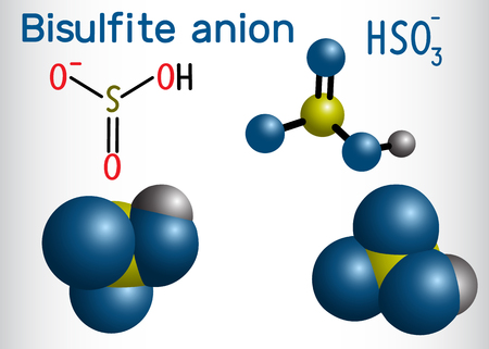 Bisulfite anion (hydrogen sulfite) molecule. Sodium bisulfite (E222) and potassium bisulfite (E228) are food preservatives. Structural formula and molecule model. Vector illustration
